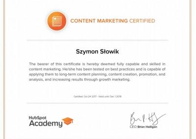 Szymon Slowik content marketing certyfikat