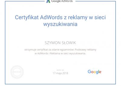Certyfikat Google AdWords z reklamy w sieci wyszukiwania